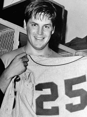 Tom Seaver, shown in 1969 during the Mets' championship season after winning his 25th game of the season