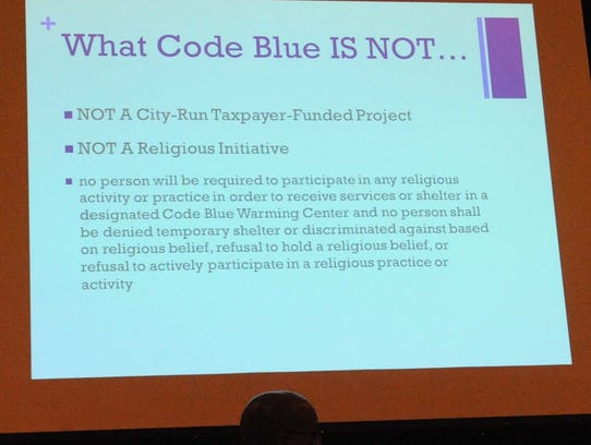 Part of a projection presentation about the Code Blue
