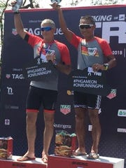 """Kilhak """"Killy"""" Kunimoto on the podium following the Bike King Tri 1 Triathlon held in Subic Bay, Philippines in late February."""