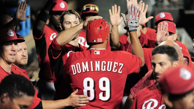 Chris Dominguez hit his second home run of the spring in Monday's 6-6 tie against the Rangers.