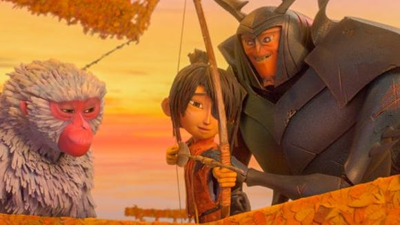 "Charleze Theron voices Monkey, left, Art Parkinson voices Kubo, center, and Matthew McConaughey voices Beetle in ""Kubo and the Two Strings."""