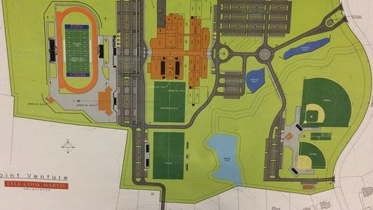 A preliminary rendering — which has changed in recent months — of the proposed Burns middle-high school.