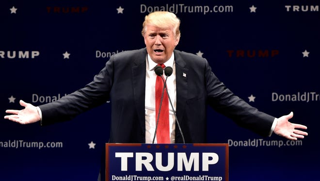 Republican presidential candidate Donald Trump speaks at the Flynn Center in Burlington, Vt. on January 7, 2016.
