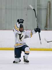 Victor's Alex Hernandez celebrates his second period