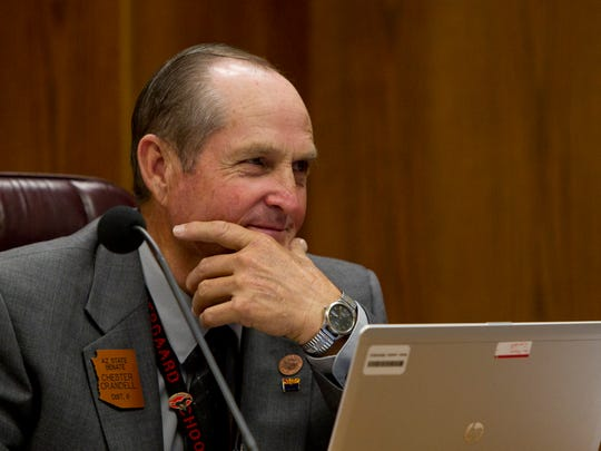 Former Arizona Sen. Chester Crandell, R-Heber, who died in August after being thrown from his horse, introduced Proposition 122. He received donations from Scottsdale millionaire and human-resources company owner Jack Biltis, who had championed the measure previously.