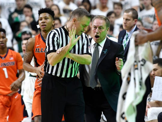 Michigan State's head coach Tom Izzo argues a call
