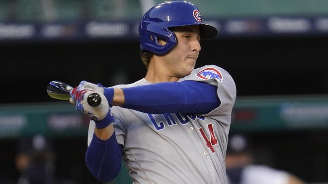 Chicago Cubs first baseman Anthony Rizzo hits a one-run single  in the third inning of Wednesday's game against the Detroit Tigers in Detroit. [AP Photo/Paul Sancya)