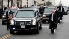 The presidential limousine carrying U.S. President