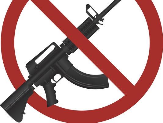 Assault Rifle AR 15 Gun Ban Vector Illustration