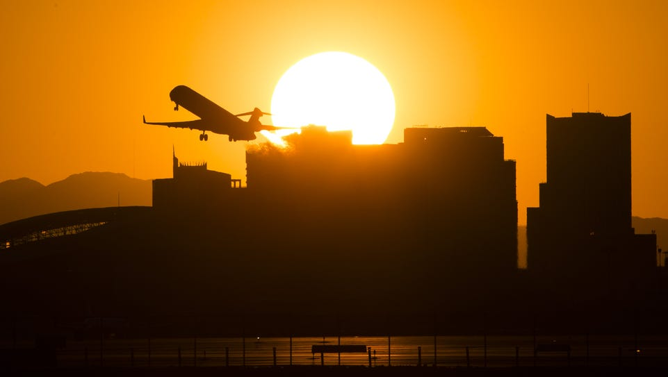 A plane takes off from Phoenix Sky Harbor Airport.