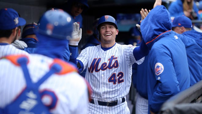 Mets right fielder Brandon Nimmo celebrates a game-tying home run against the Brewers on Sunday. Just recalled from the minors, Nimmo has a 1.371 OPS this season.