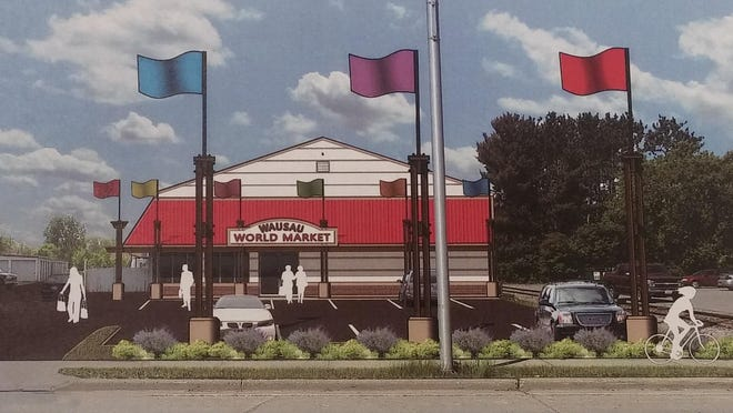 An architectural rendering of the proposed Wausau World Market, dated June 23, 2014, and signed by Mudrovich Architects.