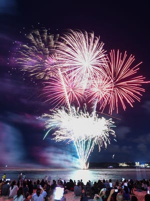 The 2018 New Year rings in with a fireworks display in Tumon on Jan. 1.