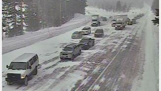 Traffic backs up after an avalanche led to the closure of Highway 20 near Santiam Pass Wednesday morning.