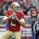 San Francisco 49ers quarterback Blaine Gabbert (2) passes against the Atlanta Falcons during the first half Sunday in Santa Clara, Calif.