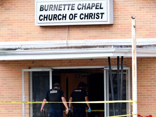 Police enter Burnette Chapel Church of Christ where