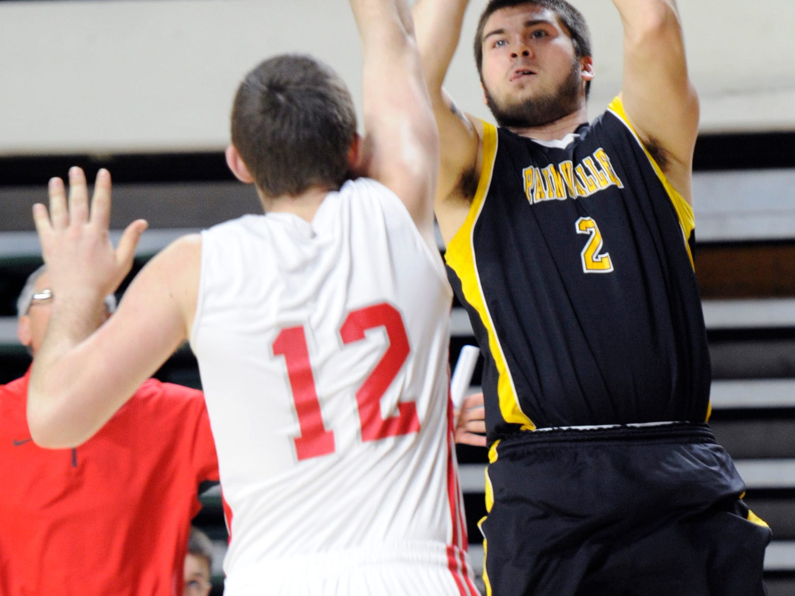Paint Valley's Clay Archer shoots against Trimble during the Division IV boys district final on March 15 at Ohio University's Convocation Center.