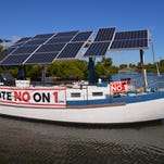"Captain Carter Quillen made a stop at Front Street Park on the Florida east coast Solar Truth Voyage, promoting ""Vote No"" on Amendment 1. His boat is a 50 foot diesel-solar hybrid."
