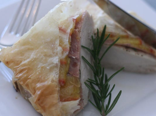Rosemary Chicken in Phyllo with Peaches and Prosciutto