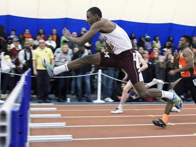 Matawan senior Nate Bowie, shown here during the 55-meter hurdles at the NJSIAA Meet of Champions in Feb., helped the Huskies win the Central Group II team title on Saturday afternoon