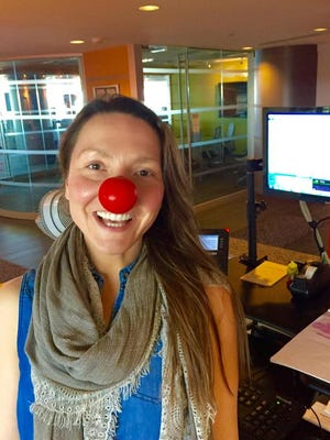 Free Press Media employee Bianca Hanks is in the spirit of Red Nose Day Thursday.