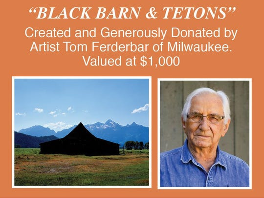 "Tom Ferderbar's matted and framed photograph, (created with archival pigmented inks on archival media,) is titled ""Black Barn and Tetons."""