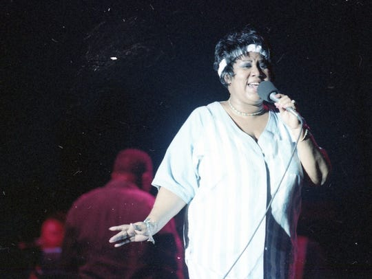 Aretha Franklin performs at the Michigan Festival Aug.