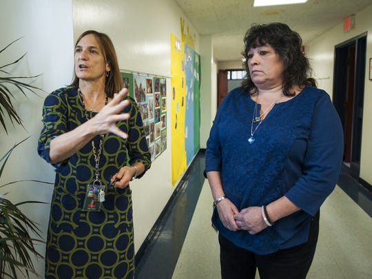 School Principal Sally Hayes and facilities manager Sandy Heyman talk about the heating system during a visit to the Brewster-Pierce Memorial School to view the outdated heating system on Wednesday in Huntington. On Nov. 8, Huntington voters are being asked to approve a $1,256,431 bond to replace the heating and ventilation system at the school with a new geothermal system.