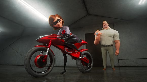 Elastigirl (voiced by Holly Hunter) hops onboard the