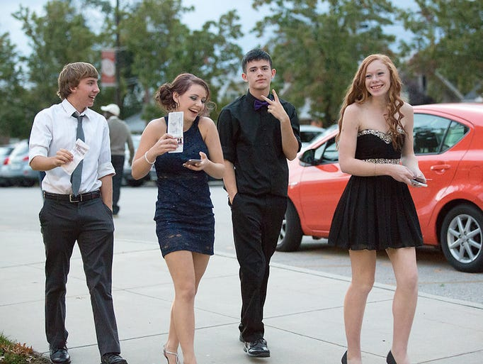 Students attend the Dover Homecoming dance Saturday