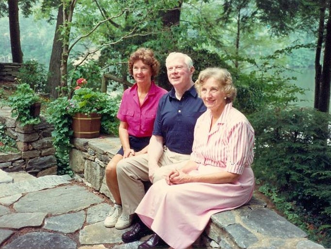 Marty Stamp, center, with his sisters, Elly Caro, left, and the late Onalea Hine.