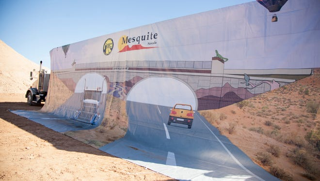 Residents from Mesquite and surrounding areas meet to commemorate the groundbreaking of exit 118 on I-15 Wednesday, Dec. 2, 2015.
