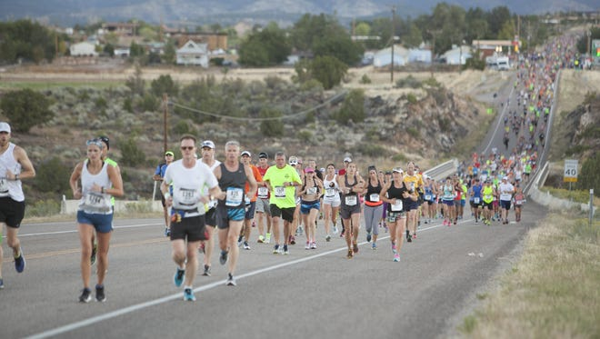 Runners compete in the annual St. George Marathon Saturday, Oct. 3, 2015.