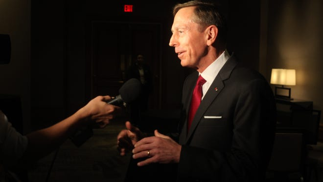 Ex C.I.A. Director and Retired General David Howell Petraeus speaks to local media prior to his speaking engagement for the Desert Town Hall held at the Renaissance Esmeralda Resort on March 24, 2016.