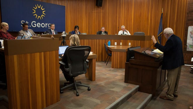 The St. George City Council and members of the community discuss the zoning of areas near Sun River during City Council meeting Thursday, Nov. 3, 2016.