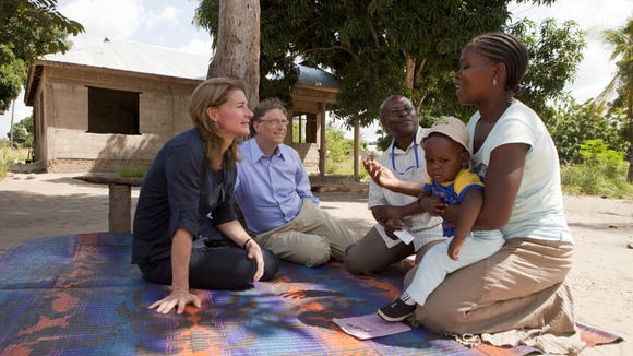 Bill and Melinda Gates meeting with villagers in Tanzania.
