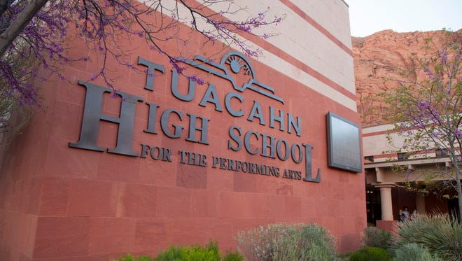Members of the Tuacahn High School faculty discuss policies and visions to an audience of parents Tuesday, March 28, 2017.