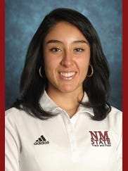 New Mexico State freshman javelin thrower Kimberly Salinas.