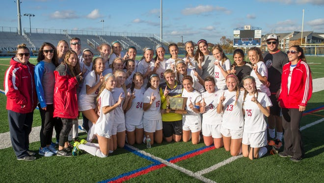 Wall Girls Soccer- Co-Champs with Northern Highlands after a 0-0 game. Wall Girls Soccer vs Northern Highlands Regional in Group III Final in Union NJ on November 19, 2016