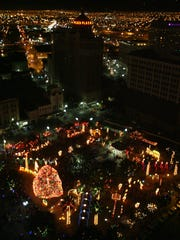 San Jacinto Plaza was alight with Christmas during