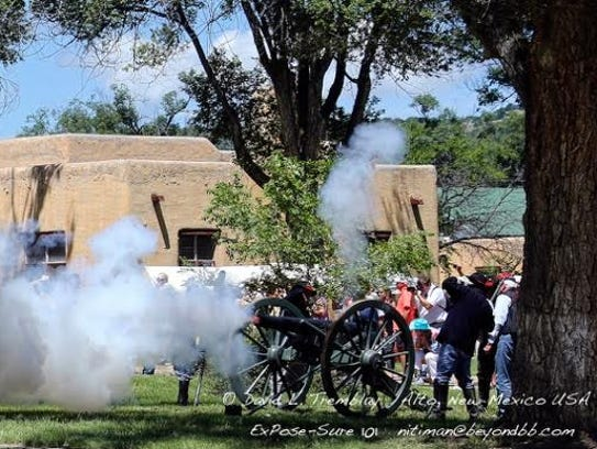 Cannons are fired at the annual Fort Stanton Live.