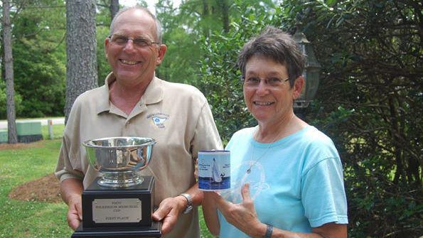 Mark and Mary Hittner won the non-spinnaker class on Baggywrinkle in the 2020 Wilkerson Cup race.