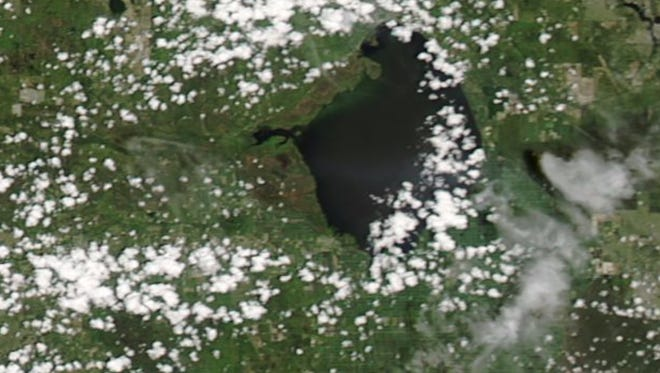 NASA satellite image taken Aug. 9, 2017, shows algae on Lake Okeechobee.