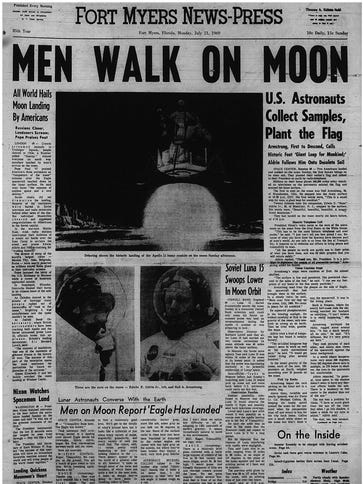 "Readers voted ""Men Walk on Moon"" from July 21, 1969,"