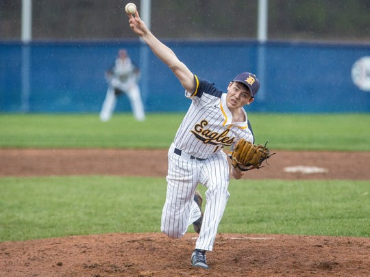 Delta's Andrew Shafer pitches to Yorktown during a