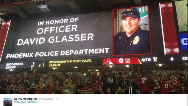 The Arizona Cardinals honored fallen Phoenix police Officer David Glasser before its first pre-season game Aug. 12, 2016, at University of Phoenix Stadium.