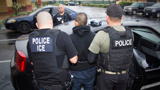 U.S. Immigration and Customs Enforcement agents making an arrest earlier this month in Los Angeles.