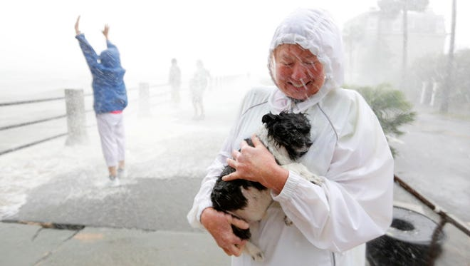 A pet owner protects her dog as pedestrians prepare for waves crashing over The Battery from the remnants of Hurricane Irma in Charleston, S.C., on Sept. 11, 2017.