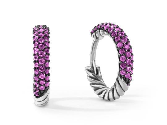Petite Pavé Mini Hoop Earrings with Pink Sapphires, David Yurman, $1,050