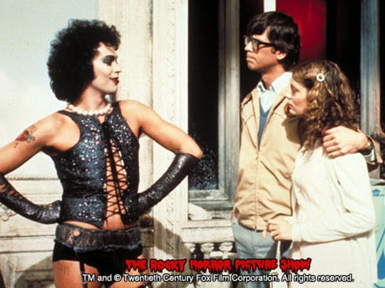 """Tim Curry (left), Barry Bostwick and Susan Sarandon in """"The Rocky Horror Picture Show."""""""
